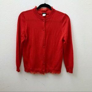 JCREW orange poppy ruffle Tartine cardigan sweater